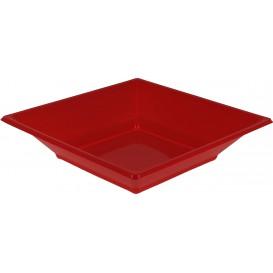 Viereckiger Plastikteller Tief Rot 170mm (5 Stück)