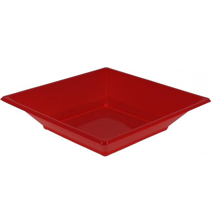 Viereckiger Plastikteller Tief Rot 170mm (750 Stück)