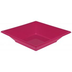 Viereckiger Plastikteller Tief Pink 170mm (5 Stück)