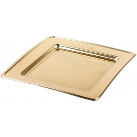 Plastikteller PET Quadratisch Gold 24cm (6 Stück)