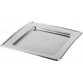 Plastikteller PET Quadratisch Silber 18cm (180 Stück)