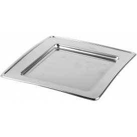 Plastikteller PET Quadratisch Silber 18cm (6 Stück)