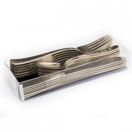 Besteckset aus Gabel, Messer und Löffel Gold metallisierte (20 Sets)