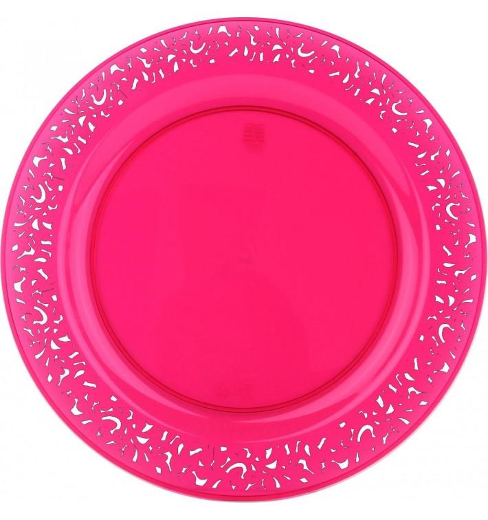 """Plastikteller rund extra Stark """"Mandala"""" himbeer 23cm (88 Stück)"""