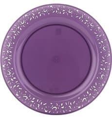 "Plastikteller rund extra Stark ""Mandala"" Aubergine 19cm (88 Stück)"