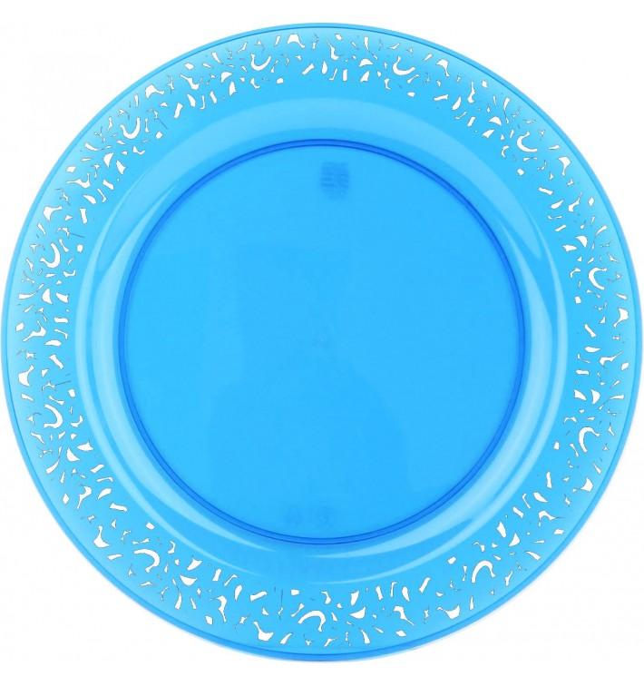 "Plastikteller rund extra Stark ""Mandala"" Türkis 19cm (4 Stück)"