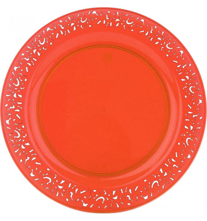 "Plastikteller rund extra Stark ""Mandala"" Orange 19cm (88 Stück)"