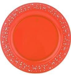 """Plastikteller rund extra hart """"Lace"""" Orange 23cm (88 Stück)"""