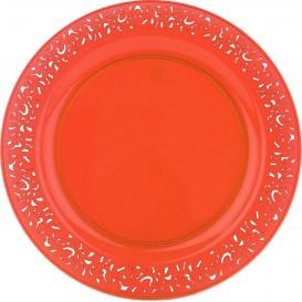 "Plastikteller rund extra Stark ""Mandala"" Orange 23cm (4 Stück)"
