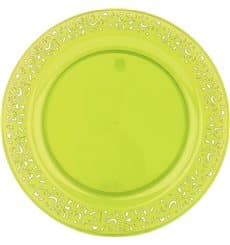 "Plastikteller rund extra hart ""Lace"" Grün 19cm (4 Stück)"