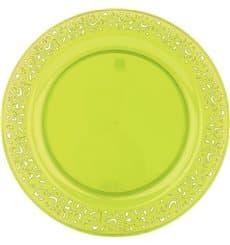 "Plastikteller rund extra hart ""Lace"" Grün 23cm (88 Stück)"
