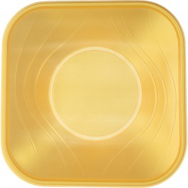 "Viereckige Plastikschale PP ""X-Table"" Gold 180x180mm (120 Stück)"