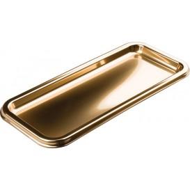 Plastikplatte rechteckig Gold 35x16cm (50 Stück)