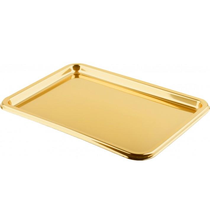 Plastikplatte rechteckig Gold 35x24cm (5 Stück)
