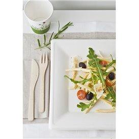 Quadratischer Teller Zuckerrohr Weiß 200x200mm (25 Stück)
