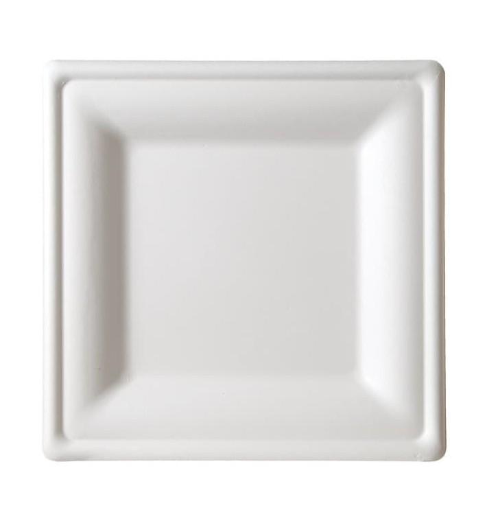 Quadratischer Teller Zuckerrohr Weiß 260x260mm (10 Stück)