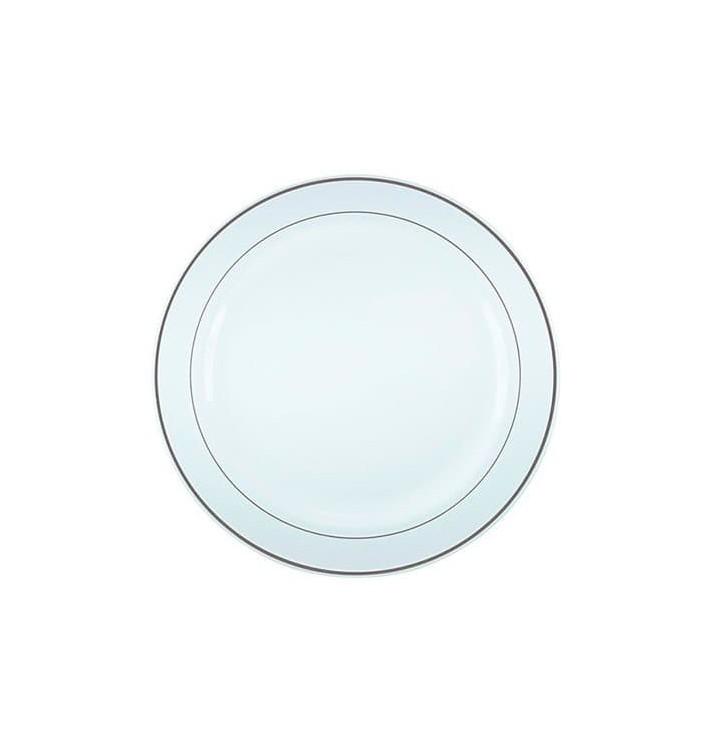 Plastikteller extra hart mit Silber-Rand 23cm (90 Stück)