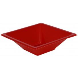 Viereckige Plastikschale Rot 12x12cm (25 Stück)