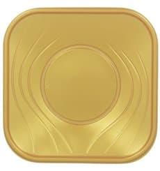 """Plastikteller """"X-Table"""" Platz flach Gold PP 230mm (120 Stück)"""