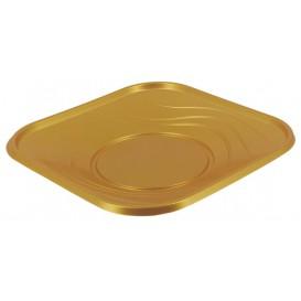"""Plastikteller PP """"X-Table"""" Platz flach Gold 230mm (120 Stück)"""