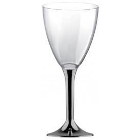 Glas aus Plastik für Wein Nickel Chrom Fuß 180ml 2T (20 Stück)