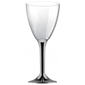 Glas aus Plastik für Wein Nickel Chrom Fuß 300ml (20 Stück)
