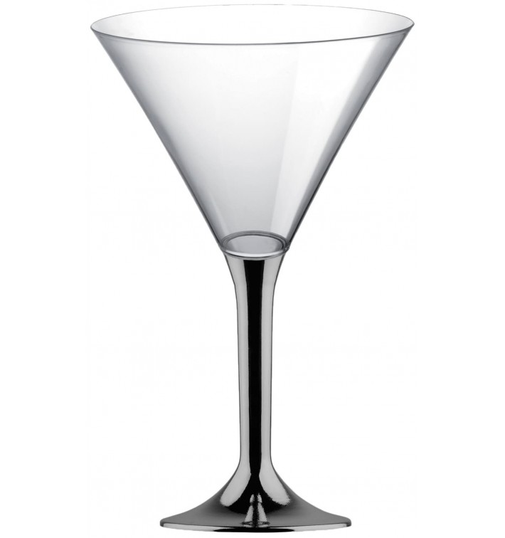 Martinigläser aus Plastik mit Nickel Chrom Fuß 185ml (20 Stück)