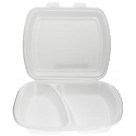 Verpackung Menübox Styropor weiß 2-geteilt  (125 Stück)
