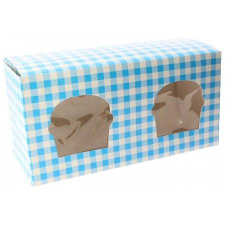 Cupcake Box für 2 Cupcakes 19,5x10x7,5cm blau (160 Stück)