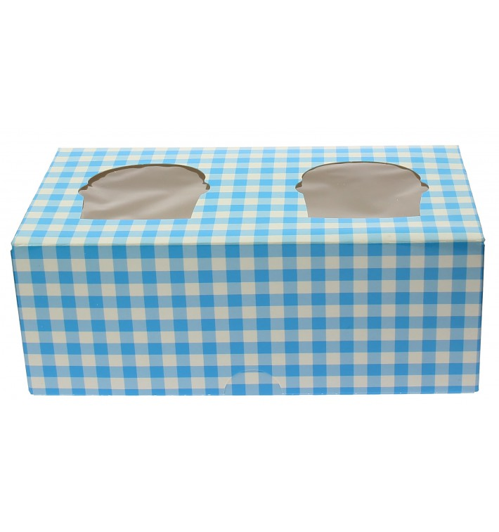 Cupcake Box für 2 Cupcakes 19,5x10x7,5cm blau (20 Stück)