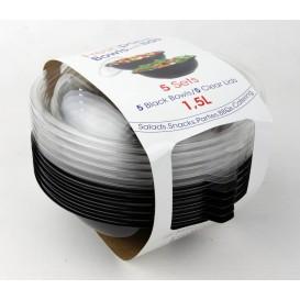 Plastikschale Schwarz + Deckel 1500ml Ø230mm (30 Stück)