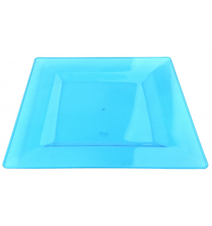 Viereckiger Plastikteller extra hart türkis 20x20cm (88 Stück)