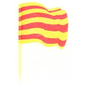 """Holzspieße Flagge """"Katalonien"""" 65mm (14.400 Einh.)"""