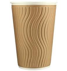 Biologischer Kaffeebecher aus Wellpappe 16Oz/495ml Ø8,5cm (620 Stück)