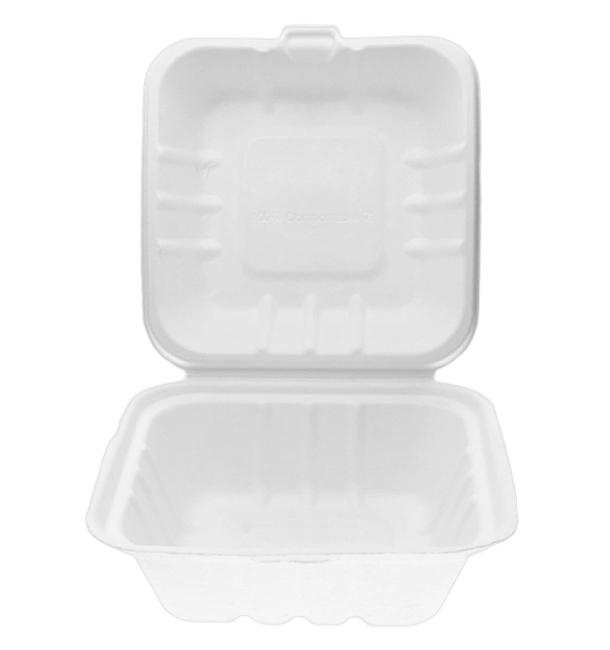 Burger-Box Zuckerrohr Weiß 155x155x80mm (500 Stück)