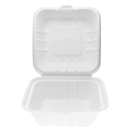 Burger-Box Zuckerrohr Weiß 150x150x75mm (500 Stück)