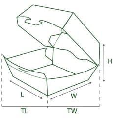 Hamburger box-Kraft-XXL 15,5x15,5x8cm (350 Einheiten)
