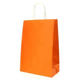 Papiertüten Orange mit Henkeln 20+10x29cm (250 Stück)