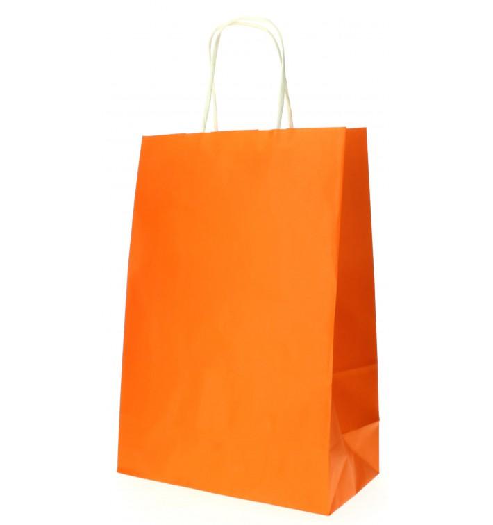 Papiertüten Orange mit Henkeln 20+10x29cm (50 Stück)