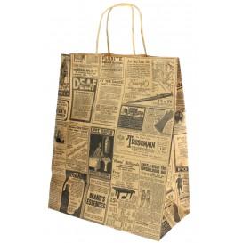 Papiertüten Kraft Times mit Henkeln 26+14x32cm (50 Stück)