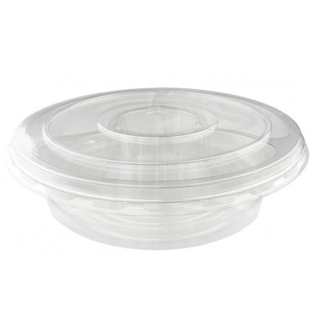 Plastikschalen PET 5F und Deckel Ø26x7cm (100 Stück)