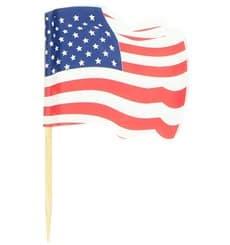 """Holzspieße Flagge """"USA"""" 65mm (144 Einh.)"""