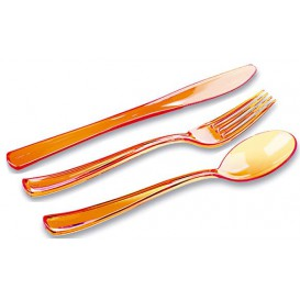 Besteckset Plastik 18-teilig orange (1 Set)