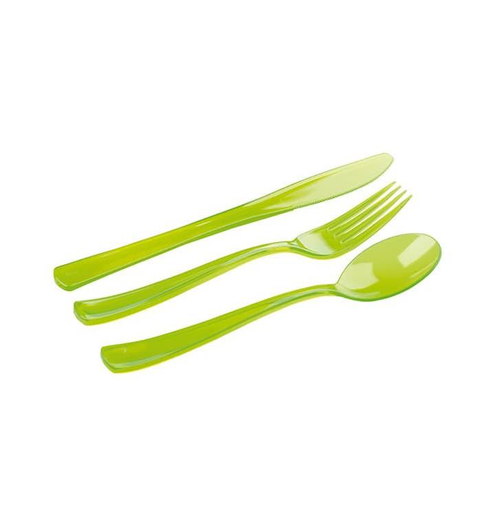Besteckset Plastik 18-teilig grün (20 Sets)