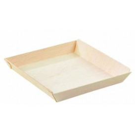 Teller aus Holz 13x13x2cm 500ml (25 Stück)