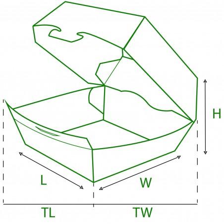 Hamburger Box Pappe 12x12x7 cm (25 Stück)