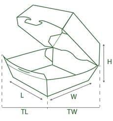 Hamburger Box Pappe 12x12x7 cm (260 Stück)