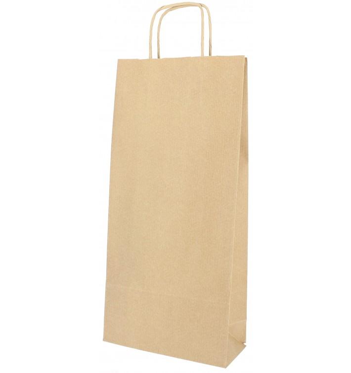 Flaschentragetaschen aus Papier kraft 18+8x39cm (50 Stück)