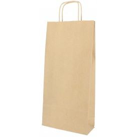 Flaschentragetaschen aus Papier kraft 18+8x39cm (300 Stück)
