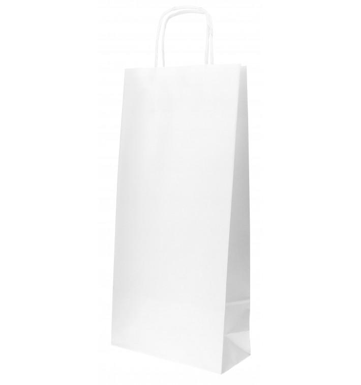 Flaschentragetaschen aus Papier Weiß 18+8x39cm (50 Stück)